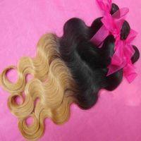 tipos de cabelos indianos venda por atacado-Ombre lace closure tipos de Cabelo Indiano brasileiro 100% cabelo humano tece a onda do corpo 4 pçs / lote