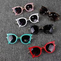 kinder sonnenbrille uv-schutz großhandel-2018 Cat Eye Kinder Sonnenbrille Junge Mädchen Mode UV-Schutz Sonnenbrille Einfache Nette Brillen Rahmen Kind Brillen Sommer Strand Zubehör