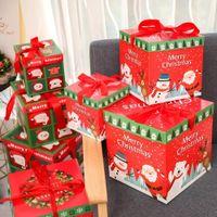 weihnachtsgeschenk geschenkboxen großhandel-Weihnachtsabend-Geschenk-Kasten Weihnachtsgeschenk-Verpackungs-Kästen Rote Band-Deckelweihnachtsdekorationen für Hauptgeschenkweihnachtsbeutel