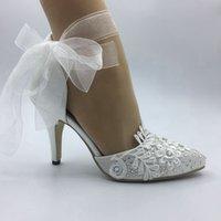 ingrosso scarpe da sposa in avorio-Imit Silk scarpe da sposa Impermeabile Avorio sposa abiti da sposa scarpe a punta diamante pizzo Perla manuale da sposa TACCO BRIDAL scarpe NUOVO UE 35-42