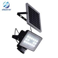 iluminación de seguridad 12v al por mayor-30W Panel Solar Focos reflectores IP65 Seguridad Jardín Luz PIR Sensor de movimiento Lámparas solares para jardín Iluminación exterior impermeable