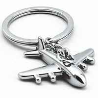 Wholesale Wholesale Airplane Keychains - High Quality Keychain Airplane Model Metal Keychain Keyring Pendant Car Keys Holder For Men Free Shipping G237S