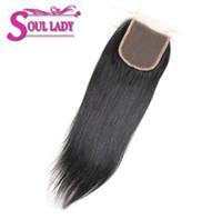 productos para damas al por mayor-Soul Lady Hair Products Cierre recto brasileño de encaje Color natural 8-20 pulgadas 4x4 Cordón suizo No remy de pelo Envío gratis