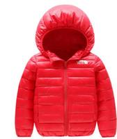 meninas pato vestido venda por atacado-rosto norte bebê crianças s casaco best selling novo menino s vestido de algodão menina s cor pura chapéu e jaqueta acolchoada de algodão leve -002-1