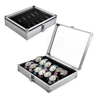 Wholesale jewelry display grids - Wholesale-2016 Useful 6 12 Grid Slots Jewelry Watches Aluminium Alloy Display Storage Box Case