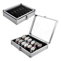 Wholesale case metal aluminium - Wholesale-2016 Useful 6 12 Grid Slots Jewelry Watches Aluminium Alloy Display Storage Box Case