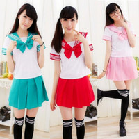 Wholesale japan dresses sleeves - pink cos set girls gift Student uniforms japanese school uniform Japan and South Korea sailor suit costumes