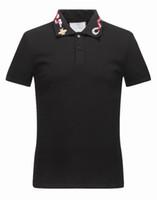 erkek yaz şortları toptan satış-YENI 2019 gg Yaz Erkekler Marka tasarımcısı Polos Gömlek Moda Nakış BEES Yılan Polo Erkek Rahat Kısa Kollu Turn-down Yaka Polo Tops