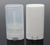 Wholesale cooler plastic containers resale online - 1000pcs g Plastic Empty DIY Oval Lip Balm Tubes Portable Deodorant Containers Clear White Lipstick Fashion Cool Lip Tubes