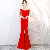 a9e4745974 Wholesale jersey off shoulder dress for sale - Elegant V Neck Satin Mermaid  Evening Dress Long