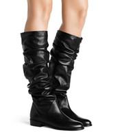 lycra vestidos de moda longa venda por atacado-2018 outono e inverno nova mulher dobra preta lisa botas longas Senhoras dedo do pé redondo botas até o joelho Moda longo vestido sapatos