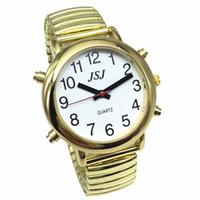 konuşan saatler toptan satış-Alarm, Beyaz Kadran, Genişleme Bandı ile Altın Renk İngilizce Konuşan İzle