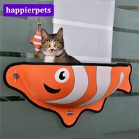 Wholesale letter soft toys online - Pet Window Bed Soft Cat Kitten Window Sill Nest Cartoon Clownfish Carp Shark Shaped Pet Bed With Warm Mat and Fish Toy