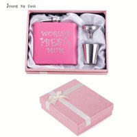 stainless steel packing NZ - 2018 NEW Best Mum gift of stainless steel pink hip flask with funnel 2 shot pink gift box packing , Great gift for mother