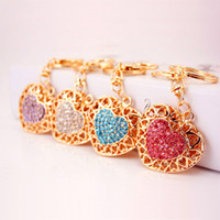 Wholesale metal heart ornaments - New Style Car Ornaments Key Ring Hollow Heart Heart Key Chain Women Handbag Keychian 4 Styles For Women Fashion Accessorices Free DHL D987Q