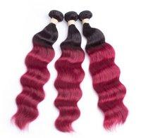 красный омбрей человеческий переплет оптовых-Oxette бордовый 3or 4 шт. волна тела 100% человеческих волос ткать расширение темные корни омбре вино красные пучки