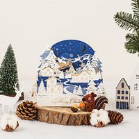 Wholesale pop up card for sale - Group buy pieces D Pop Up Starry Sky Navy Blue Christmas Greeting Cards Laser Cut Snowman Sleigh Postcard Wish Card GX6167