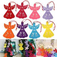 engel webt großhandel-Cute 1 Stück Vlies Weihnachten Engel hohlen Exquisite Anhänger hängende Ornamente Weihnachtsbaum Dekoration