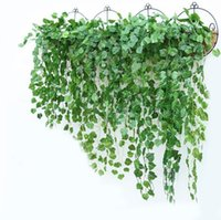 Wholesale green garland white flowers online - Green Artificial Fake Hanging Vine Plant Leaves Foliage Flower Garland Home Garden Wall Hanging Decoration IVY Vine Supplies