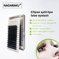 rizos planos al por mayor-NAGARAKU Flat Ellipse Extensiones de pestañas Split Tips Elipse en forma de pestañas individuales Natural Long 3D Curl falso Ellipse pestañas Extensiones