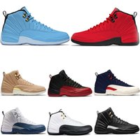 Wholesale mens burgundy boots - Mens Designer 2018 12 12s Basketball Shoes Taxi the master white black French blue flu game Gym Red sports Sneakers US 8-13
