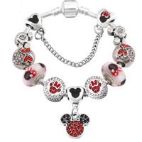 ingrosso diy del fumetto del branello-Moda lega perline braccialetto fai da te per donna Pandora stile braccialetto gioielli braccialetto di perline