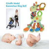Wholesale Teether Rattle Set - Plush Infant Baby Development Soft Giraffe Model Rattle Ring Bell Animal Handbells Rattles Handle Toys Teether Baby Kid Crib Toy