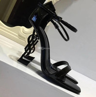 Wholesale sexy bow shoes online - 2019 Patent Leather Thrill Heels Women Unique Designer Pointed toe Dress Wedding Shoes Sexy Brand YSL Letters heel Sandals eden heel