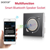 Wholesale Speaker Socket - DOITOP Multifunction Smart Wall Socket Wireless Bluetooth Speaker Socket HiFi Music Play & 5V 2A USB Charging Port Smart Speaker