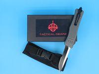 Wholesale grey knife resale online - 2018 New Grey Inch Medium Auto Tactical Knife C Single Edge Drop Point Half Serration Blade EDC Pocket Knives