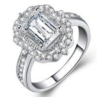 piedra preciosa de cristal rosa al por mayor-Cristal anillo de circonio cúbico oro rosa piedras preciosas anillo de bodas anillos de las mujeres regalo de la joyería de moda Will y Sandy Drop Ship