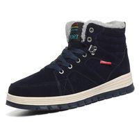 botas de piel azul al por mayor-Botas de PU Hombre Moda Piel Botas de nieve cálidas Tobillo masculino Invierno Otoño Botas Casual Caqui Azul Hombres Zapatos