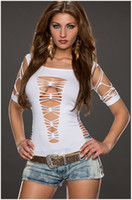 Wholesale night club tops - Fashion Female T-shirt Solid Hollow Out Bandage T shirt Night Club Women Sexy Design Top Tee