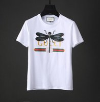 Wholesale Embroidered T Shirt Woman - High-end women's dress 2018 early spring new stereo dragonfly embroidered letter printing girl 100 silk cotton T-shirt.