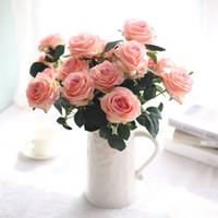 bouquets de rosa de latex de toque real venda por atacado-Decor Rose Flores Artificiais Flores De Seda 10 Cabeças de Látex Floral Real Toque Rosa Do Ramalhete Do Casamento Flores de Design de Festa Em Casa