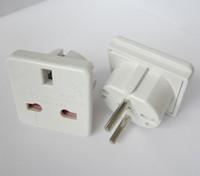 Wholesale uk euro - UK to EURO EU AC Power Converter Travel Plug Adapter Adapters Converters white