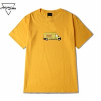 Wholesale cotton express clothing - Aelfric Eden Streetwear Casual Couple Clothes Men Express Truck Cartoon Printing Yellow T Shirt Cotton Man Half Sleeves Tops Tee
