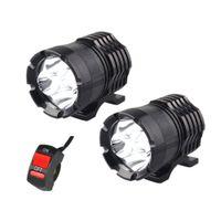 luces drl universales al por mayor-1 par faros LED de la motocicleta 12V 80W 8000LM U2 LED haz de la moto faro Moto Spot luz principal lámpara auxiliar DRL