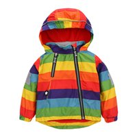 Wholesale New Boys Girl Jacket Children Rainbow Color Velvet Clothing Kids Hooded Coats Baby Windbreaker Outerwear Chaquetas Manteau Coat