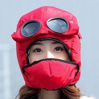 bombardıman uçağı şapkası toptan satış-Bombacı Şapka Kadın Erkek Çocuk Kış Rüzgar Geçirmez Kayak Kap Kulak Kanatları Ve Maske Pilot Gözlük Ile Sıcak Aviator Şapka Trooper Trapper Kap