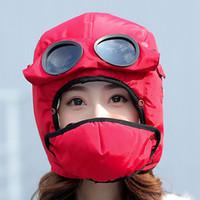 ingrosso protezione occhiali-Bomber Hats Donna Uomo Bambino Inverno Antivento Sci Cap con paraorecchie e maschera Pilot Occhiali Warm Aviator Hats Trooper Trapper Cap