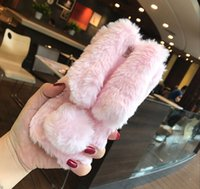 Wholesale black hair pink rose online - Stock Lovely Soft D Rabbit Ears Plush Fur Furry Warm Phone Cases For iphone X Cute Soft TPU Fluffy Hair Back Cover
