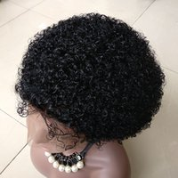 peluca rizada llena al por mayor-14 pulgadas # 1 Color Afro Kinky Curl Peluca delantera del cordón del pelo humano Brasileña Peluca llena del cordón del pelo humano para las mujeres negras