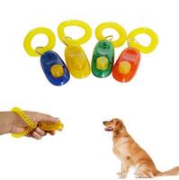 ingrosso polso del cane-Puppy Dog Cat Pet Click Clicker fischio Training Obedience Aid Wrist Strap Guide Fare clic su Pet Training Tool EEA315