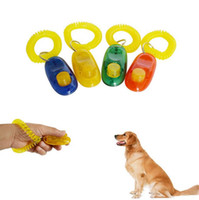 Wholesale plastic small - Puppy Dog Cat Pet Click Clicker whistle Training Obedience Aid Wrist Strap Guide Click Pet Training Tool EEA315