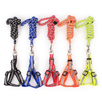 Wholesale heavy duty dog - Reflective Dog Chest Strap Heavy Duty Anti Slip Pet Leashes Durable Braided Puppy Collars Hot Sale 4 5tt Y