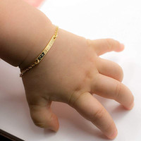 Wholesale id bracelet resale online - 4 quot Chain Baby Name Bar id Bracelet Gold Hand Stamp Artisan Bracelet Personalized Your Name Customized New Born to Children Gift