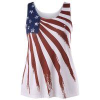 frauen-amerikanisches flaggen-trägershirt großhandel-Neue Plus Size American Flag Printed Tank Top Frauen O Neck Sleeveless Stern Striped Print Top Sommer Oversize Fashion Crop Tee 5XL