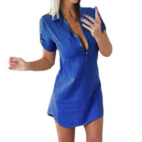 21cf32b43d1 denim shirt dresses women Canada - New arrival Women Short Sleeve Dress  Casual Solid Straight Dress