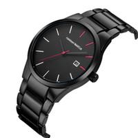 reloj de pulsera deportivo analógico al por mayor-Relojes de pulsera de moda para hombre Reloj deportivo para hombre Acero inoxidable Fecha analógica Deporte Cuarzo relogio masculino Reloj hombres